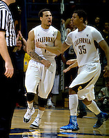Justin Cobbs of California celebrates with Richard Solomon of California during the game against USC at Haas Pavilion in Berkeley, California on February 17th, 2013.  California defeated USC, 76-68.