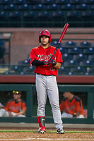 AZL Angels right fielder Francisco Del Valle (4) hits during a game against the AZL Giants on July 10, 2017 at Scottsdale Stadium in Scottsdale, Arizona. AZL Giants defeated the AZL Angels 3-2. (Zachary Lucy/Four Seam Images)