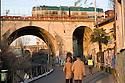 Tirano street close to the railroad bridges along Naviglio Martesana (canal) in Milan, January, 2011. © Carlo Cerchioli..Via Tirano lungo il Naviglio Martesana vicino ai ponti della ferrovia, Milano, gennaio 2011.