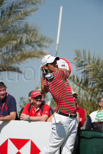 19.01.2013 Abu Dhabi, United Arab Emirates. Matteo Manassero in action during the European Tour HSBC Golf championship  third round from the Abu Dhabi Golf Club.