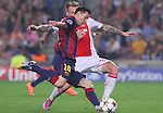21.10.2014 Barcelona, Spain. UEFA Champions League matchday 3 Group 3. Picture show  Leo Messi (L) and Niki Zimling (R) in action during game between FC Barcelona against Ajax at Camp Nou