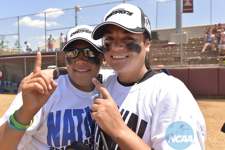 26 MAY 2014: Kaisha Dacosin (5)  and Rita Hokianga (4) of West Texas A&M celebrate winning their first softball championship during the Division II Women's Softball Championship held at the Moyer Sports Complex in Salem, VA.  West Texas defeated Valdosta State 3-2 for the national title.  Andres Alonso/NCAA Photos