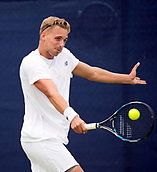 June 13th 2017, Nottingham, England; ATP Aegon Nottingham Open Tennis Tournament day 2;  Backhand from Lloyd Glasspool of Great Britain who defeated Go Soeda of Japan by two sets to love
