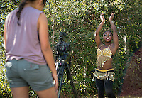 Occidental College student Afrika Bakenra '15 photographed for a profile as she films Dance Lessons for CatAList, Feb. 16, 2013. (Photo by Marc Campos, Occidental College Photographer)