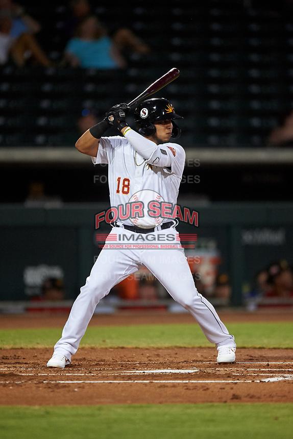 Mesa Solar Sox Isaac Paredes (18), of the Detroit Tigers organization, at bat during an Arizona Fall League game against the Scottsdale Scorpions on September 18, 2019 at Sloan Park in Mesa, Arizona. Scottsdale defeated Mesa 5-4. (Zachary Lucy/Four Seam Images)