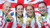 Picture by Alex Whitehead/SWpix.com - 13/08/2016 - 2016 Rio Olympic Games - Track Cycling - Olympic Velodrome, Rio de Janeiro, Brazil - Great Britain's Women's Team Pursuit win Gold in the final, from left, Joanna Rowsell-Shand, Elinor Barker, Laura Trott and Katie Archibald.