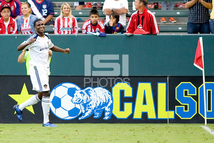 LA Galaxy forward Edson Buddle celebrates his goal. The LA Galaxy beat Chivas USA 2-1 at Home Depot Center stadium in Carson, California on Sunday October 3, 2010.