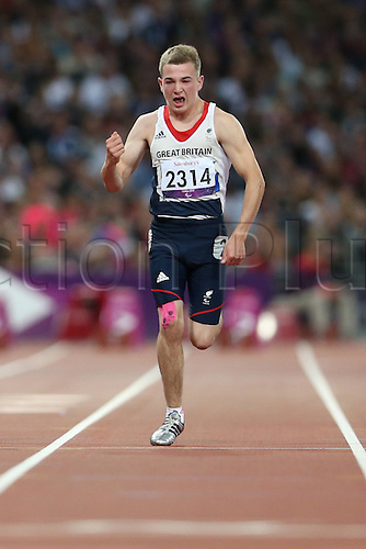 01.09.2012 London, England. mens 100m t-35 final J Howe (GBR) in action during Day 3 of the London 2012 Paralympic Games at the Olympic Staduim in Stratford