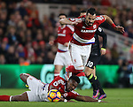 Alvaro Negredo of Middlesbrough is tripped up by a sliding team mate Adama Traore of Middlesbrough during the English Premier League match at the Riverside Stadium, Middlesbrough. Picture date: November 20th, 2016. Pic Simon Bellis/Sportimage