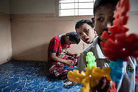 There are only two official mental institutions in Myanmar, a 48,336,763 people country. <br /> On the photo: children suffering autism and retarded development with their daily activities.<br /> No psychologist is provided for this facility. Only nurses and visiting therapist.