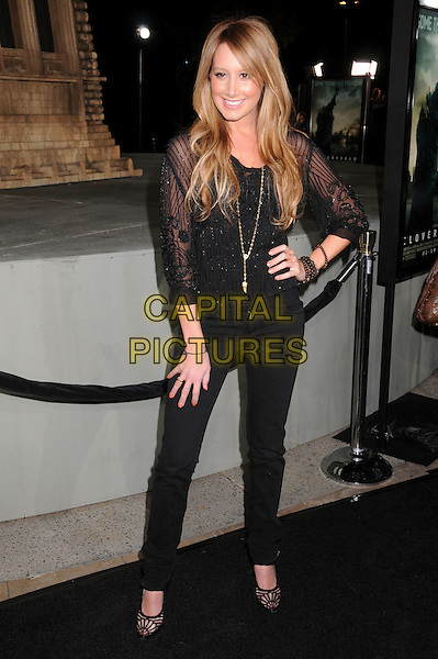 "ASHLEY TISDALE.""Cloverfield"" Los Angeles Premiere at Paramount Studios, Hollywood, California, USA..January 16th, 2008.full length black jeans denim top shirt sheer hand on hip beads beaded bracelets gold necklace .CAP/ADM/BP.©Byron Purvis/AdMedia/Capital Pictures."