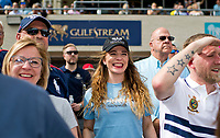 HALLANDALE BEACH, FL - JANUARY 27: A young fan cheers when her pick wins the race on Pegasus World Cup Invitational Day at Gulfstream Park Race Track on January 27, 2018 in Hallandale Beach, Florida. (Photo by Scott Serio/Eclipse Sportswire/Getty Images)