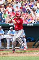 North Carolina State Wolfpack designated hitter Jake Armstrong #23 bats during Game 3 of the 2013 Men's College World Series between the North Carolina State Wolfpack and North Carolina Tar Heels at TD Ameritrade Park on June 16, 2013 in Omaha, Nebraska. The Wolfpack defeated the Tar Heels 8-1. (Brace Hemmelgarn/Four Seam Images)