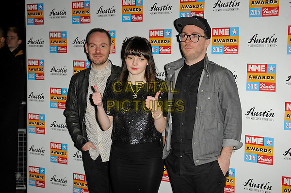 LONDON, ENGLAND - FEBRUARY 18: Chvrches attending the NME Awards at Brixton Academy on February 18 2015 in London, England.<br /> CAP/MAR<br /> &copy; Martin Harris/Capital Pictures