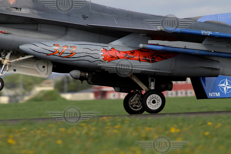 Tiger theme on a fuel tank of a F-16 fighter. Nato Tiger Meet is an annual gathering of squadrons using the tiger as their mascot. While originally mostly a social event it is now a full military exercise. Tiger Meet 2012 was held at the Norwegian air base Ørlandet.