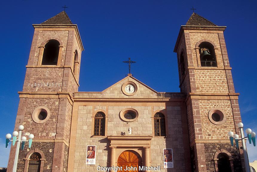 The Catedral de Nuestra Senora de la Paz on the Plaza Constitucion or Jardin Velazco in the city of La Paz, Baja California Sur, Mexico