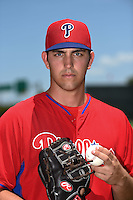 GCL Phillies pitcher Austin Davis (53) poses for a photo after a game against the GCL Pirates on June 26, 2014 at the Carpenter Complex in Clearwater, Florida.  GCL Phillies defeated the GCL Pirates 6-2.  (Mike Janes/Four Seam Images)