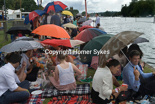 Henley on Thames UK. Picnic in the English summer raining.