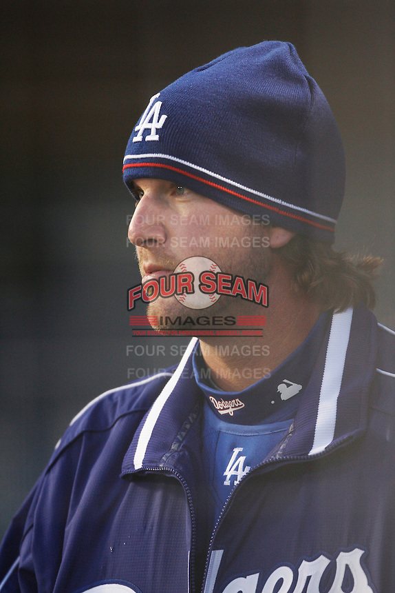 Derek Lowe of the Los Angeles Dodgers during a 2007 MLB season game at Dodger Stadium in Los Angeles, California. (Larry Goren/Four Seam Images)