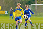 Padraig O'Connor Ballyhar and Brendan Coppinger Killarney Athletic chase the loose ball during their cup tie in Killarney on Saturday..