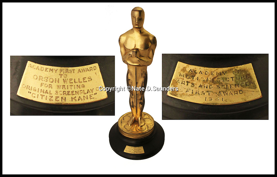 BNPS.co.uk (01202 558833)<br /> Pic: Nate.D.Saunders/BNPS<br /> <br /> ***Please Use Full Byline***<br /> <br /> No 5: The Oscar won by Orson Welles for his directorial debut with Citizen Kane (1942) sold for $861,542.<br /> <br /> In the wake of the Oscars, a list of the most valuable Academy Award-winning movie memorabilia ever sold at auction has been compiled.<br /> <br /> Movie memorabilia is big business for collectors, but you'd need deep pockets to get your hands on these pricey items, which have all been sold in the last five years for at least six-figure sums.