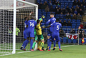 1st December 2017, Cardiff City Stadium, Cardiff, Wales; EFL Championship Football, Cardiff City versus Norwich City; Cardiff City defenders scramble for the loose ball as the Norwich City corner is not contained