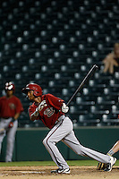Sergio Alcantara #1 of the AZL Diamondbacks bats against the AZL Angels at Tempe Diablo Stadium on July 14, 2013 in Tempe, Arizona. AZL Angels defeated the AZL Diamondbacks, 5-3. (Larry Goren/Four Seam Images)
