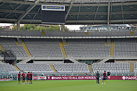 29th July 2020; Olympic Grande Torino Stadium, Turin, Piedmont, Italy; Serie A Football, Torino versus Roma; Roma players on the pitch after arriving at the stadium