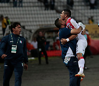 MANIZALES - COLOMBIA, 18-11-2018: David Gomez jugador del Once Caldas celebra su gol contra el  Rionegro  durante partido por los cuartos de final vuelta Liga Águila II 2018 jugado en el estadio Palogrande de la ciudad de Manizales. / David Gomez player of Once Caldas celebrates his goal agaisnt of Rionegro during the match for the Quarter Final second leg match  played at the Palogrande Stadium in Manizales city. Photo: VizzorImage / Santiago Osorio / Contribuidor