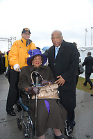 Washington DC., USA, November 13, 2006 <br /> Dorothy Height (in wheelchair) president of the National Council of Negro Women is accompanied by Congressman John Lewis (D) Georgia to the ground breaking dedication of the Martin Luther King Memorial. Credit: Mark Reinstein/MediaPunch