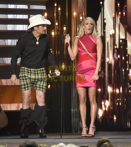 4 November 2015 - Nashville, Tennessee - Brad Paisley, Carrie Underwood. 49th CMA Awards, Country Music's Biggest Night, held at Bridgestone Arena. <br /> CAP/ADM/LF<br /> &copy;Laura Farr/AdMedia/Capital Pictures