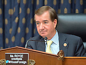 """United States Representative Ed Royce (Republican of California), Chairman, U.S. House Committee on Foreign Affairs, listens as U.S. Secretary of State John Kerry gives testimony before the committee about the President's recently announced strategy on ISIS in Washington, D.C. on Thursday, September 18, 2014.  The hearing is entitled """"The ISIS Threat:  Weighing the Obama Administration's Response."""" <br /> Credit: Ron Sachs / CNP"""