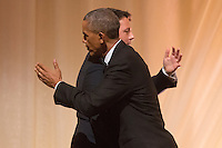 US President Barack Obama (L) greets Italian Prime Minister Matteo Renzi (R) after offering a toast during a state dinner on the South Lawn of the White House in Washington DC, USA, 18 October 2016. President Obama hosts his final state dinner, featuring celebrity chef Mario Batali and singer Gwen Stefani performing after dinner. <br /> Credit: Michael Reynolds / Pool via CNP / MediaPunch