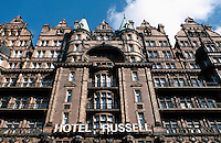 London: Hotel Russell--upper facade. Russell Square. Designed by Charles Fitzroy Doll, 1898. Victorian style.