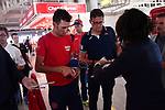 Riders including Vincenzo Nibali (ITA) Bahrain-Merida transfer from Cagliari airport to Sicily after Stage 3 of the 100th edition of the Giro d'Italia 2017, running 148km from Tortoli to Cagliari, Sardinia, Italy. 7th May 2017.<br /> Picture: LaPresse/Gian Mattia D'Alberto | Cyclefile<br /> <br /> <br /> All photos usage must carry mandatory copyright credit (&copy; Cyclefile | LaPresse/Gian Mattia D'Alberto)