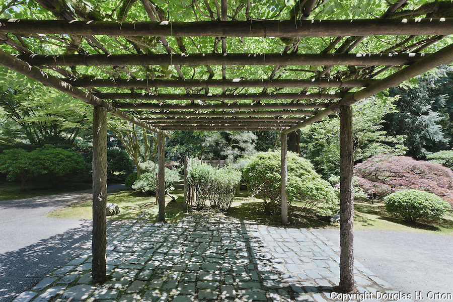Under the arbor, Portland, Oregon, Japanese Garden.  The Japanese Garden in Portland is a 5.5 acre respit.  Said to be one of the most authentic Japanese Garden's outside of Japan, the rolling terrain and water features symbolize both peace and strength.