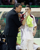 Caja Segovia's coach David Madrid (l) and Antonito Sierra during Spanish National Futsal League match.November 24,2012. (ALTERPHOTOS/Acero) /NortePhoto