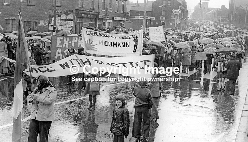 Peace People March along the Falls Road, Belfast, N Ireland, UK, 23rd October 1976 - Provisional Sinn Fein responded to the Falls Peace March with a counter-demonstration of their own. 197610230506m<br />