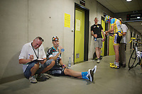 Race winner Tom Boonen (BEL/OPQS) at anti-doping check after the race. With temperatures averaging 29°C during the race a lot of extra water needed to be consumed to be able to produce the required 'sample'.<br /> <br /> Heistse Pijl 2014