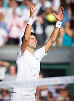 Novak Djokovic of Serbia celebrates his victory over Ernests Gulbis of Latvia in their Men's Singles Third Round Match today - Djokovic def Gulbis 6-4, 6-1, 7-6<br /> <br /> Photographer Ashley Western/CameraSport<br /> <br /> Wimbledon Lawn Tennis Championships - Day 6 - Saturday 8th July 2017 -  All England Lawn Tennis and Croquet Club - Wimbledon - London - England<br /> <br /> World Copyright &not;&uml;&not;&copy; 2017 CameraSport. All rights reserved. 43 Linden Ave. Countesthorpe. Leicester. England. LE8 5PG - Tel: +44 (0) 116 277 4147 - admin@camerasport.com - www.camerasport.com