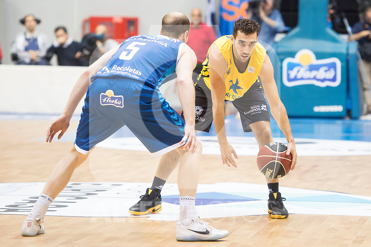 San Pablo Burgos's Thomas Schreiner and Iberostar Tenerife's Ferran Bassas during Liga Endesa match between San Pablo Burgos and Iberostar Tenerife at Coliseum Burgos in Burgos, Spain October 01, 2017. (ALTERPHOTOS/Borja B.Hojas)