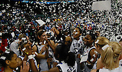 Confetti rains down on the back-to-back ACC Tournament Champions, the Duke Blue Devils.