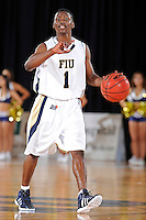 12 January 2012:  FIU guard Deric Hill (1) signals to teammates in the second half as the Middle Tennessee State University Blue Raiders defeated the FIU Golden Panthers, 70-59, at the U.S. Century Bank Arena in Miami, Florida.