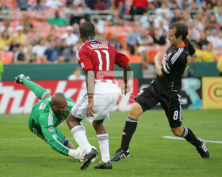 Carey Talley #8 of D.C. United plls up as his shot is saved by Zach Thornton #22 of Chivas USA during an MLS match at RFK Stadium, on May 29 2010 in Washington DC. United won 3-2.