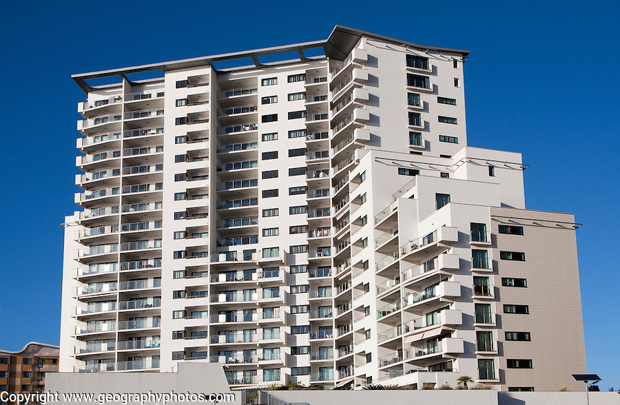 High rise apartment block housing in Gibraltar, British overseas territory in southern Europe