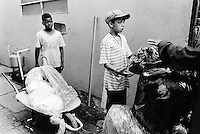 "Brazil. Sao Paulo state. Sao Paulo. Two young boys and a wheelbarrow full of plastic to sell at ""El Gringo"". The ""catadores"" are men who collect paper, metals, bottles ... in order to sell these items as recycled materials and make a living. ""El Gringo"" is a buy-off center. Every day, it buys these recycled products to hundreds of men, all waste collectors, then resells them to various industrial factories. © 1994 Didier Ruef .."