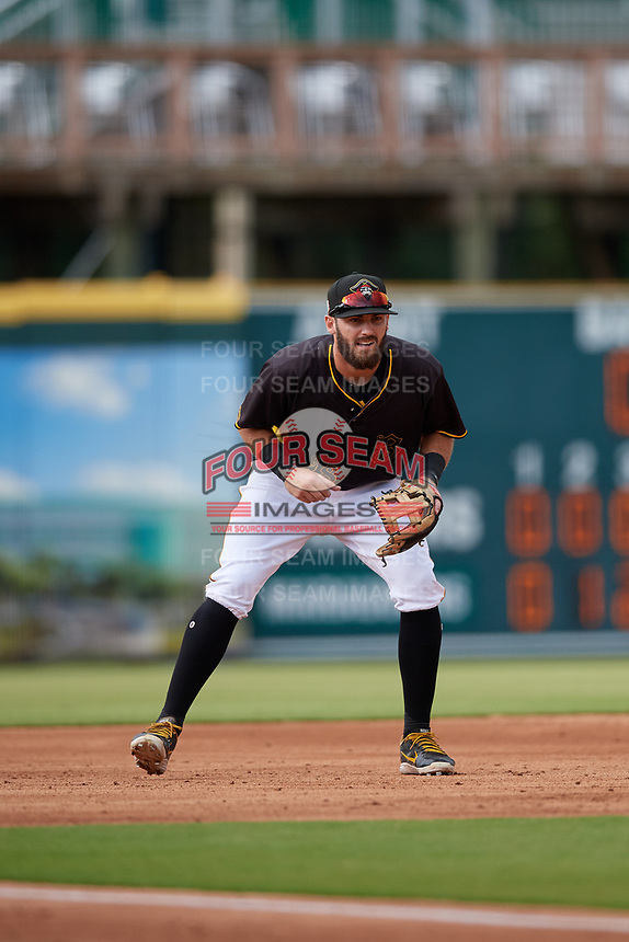 Bradenton Marauders third baseman Dylan Busby (28) during a Florida State League game against the Palm Beach Cardinals on May 10, 2019 at LECOM Park in Bradenton, Florida.  Bradenton defeated Palm Beach 5-1.  (Mike Janes/Four Seam Images)
