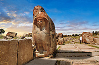 Picture of the Sphinx gate Hittite sculpture, Alaca Hoyuk (Alacahoyuk) Hittite archaeological site Alaca, Corum Province, Turkey,