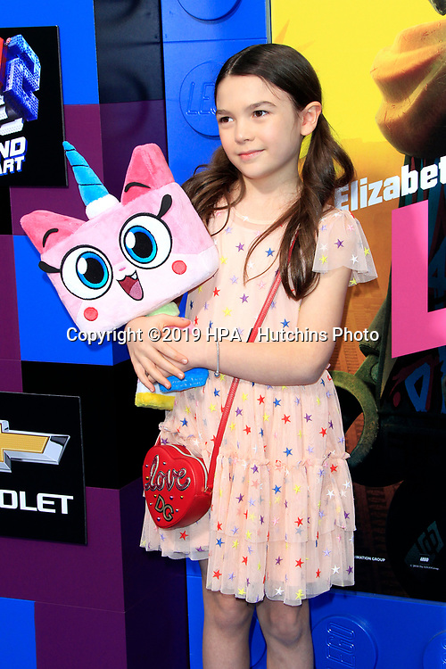 """LOS ANGELES - FEB 2:  Brooklynn Prince at """"The Lego Movie 2: The Second Part"""" Premiere at the Village Theater on February 2, 2019 in Westwood, CA"""