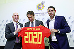 The coach of the national soccer team of Spain, Julen Lopetegui (c) with RFEF's President Luis Rubiales (l) and the General Manager Fernando Hierro, during the signing of the renewal of his contract until 2020. May 22,2018. (ALTERPHOTOS/Acero)